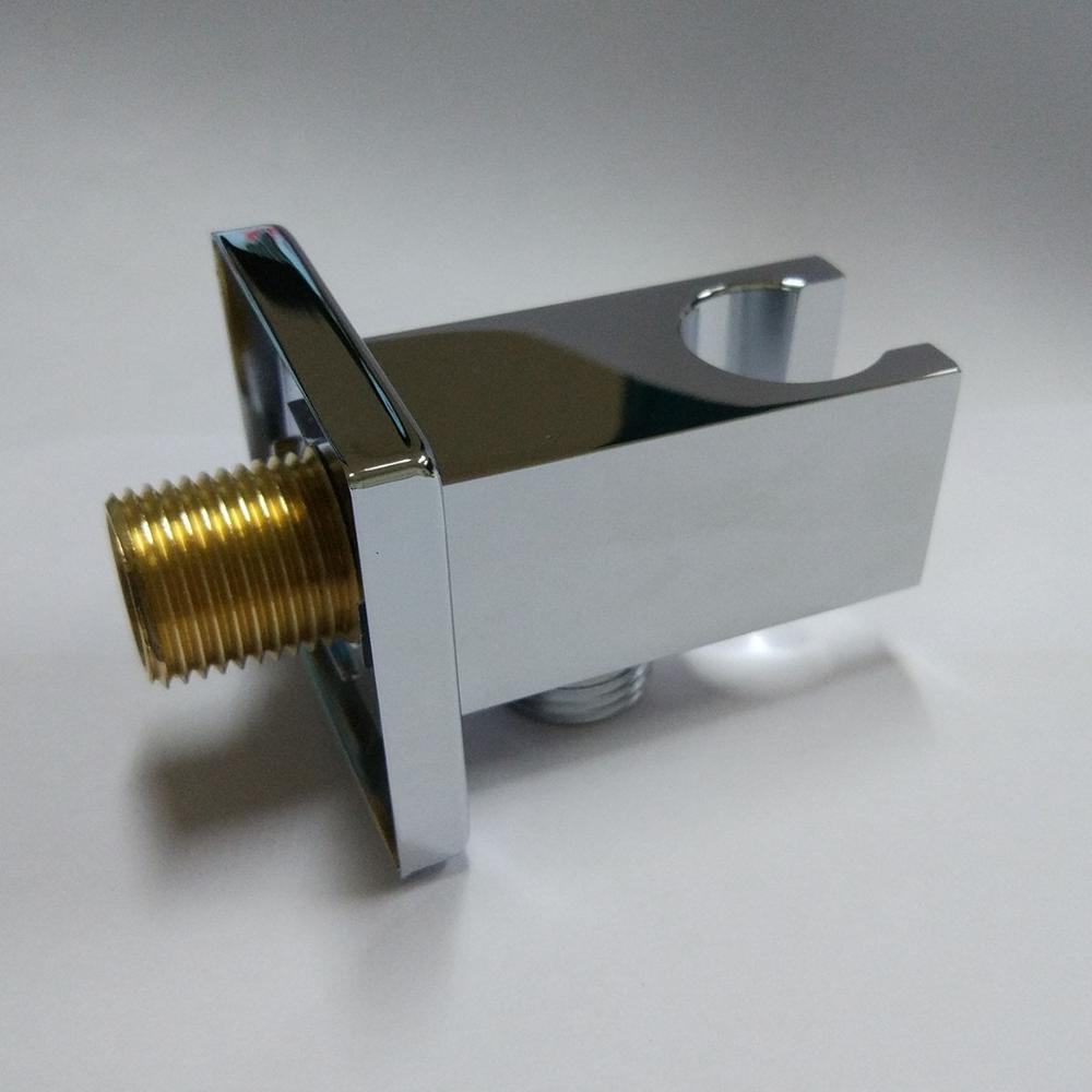Square Handheld Shower Head Wall Outlet Elbow with Holder, Wall Mounted 04-018