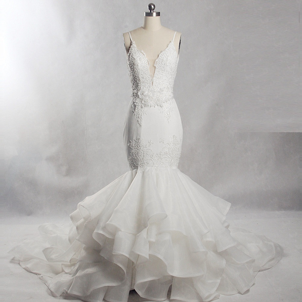 RSW559 Lace Mermaid Ruffles Skirt Backless Organza Wedding Dress
