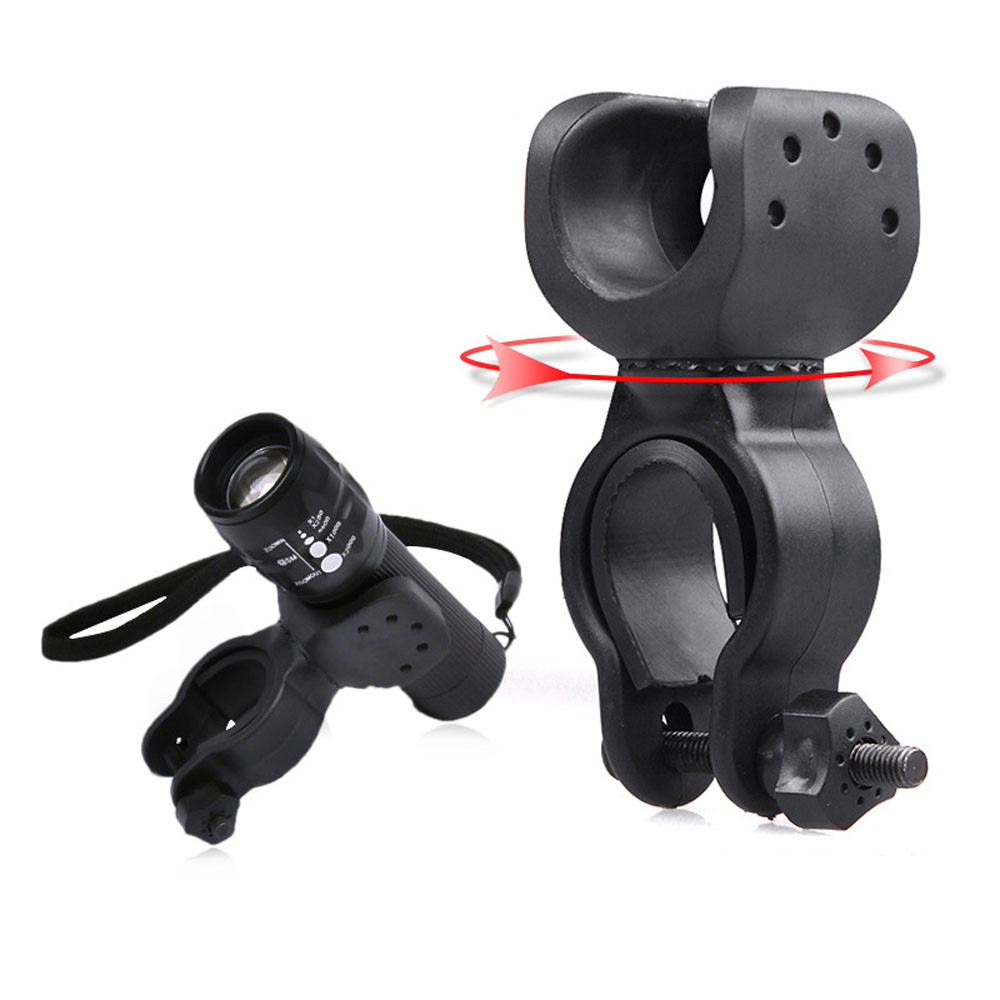 Mount Bicycle Front Light Bracket Cycle Zone 360 Torch Clip  Flashlight Holder 360 Rotation Antiskid Rubber