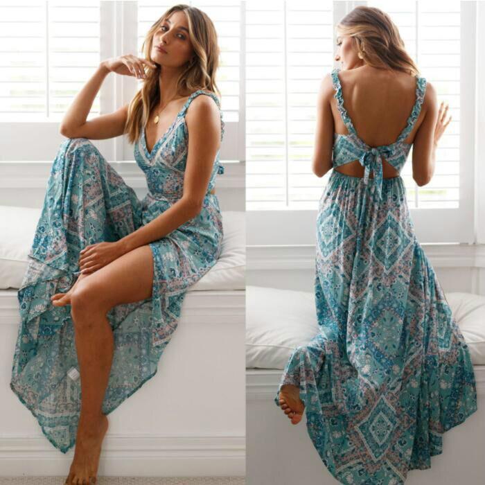 Frauen Sexy Backless Kleid 2019 Sommer Bohemian Floral Print Lange Kleider Femal V Neck Vestidos Plus Größe Dame Casual Kleidung