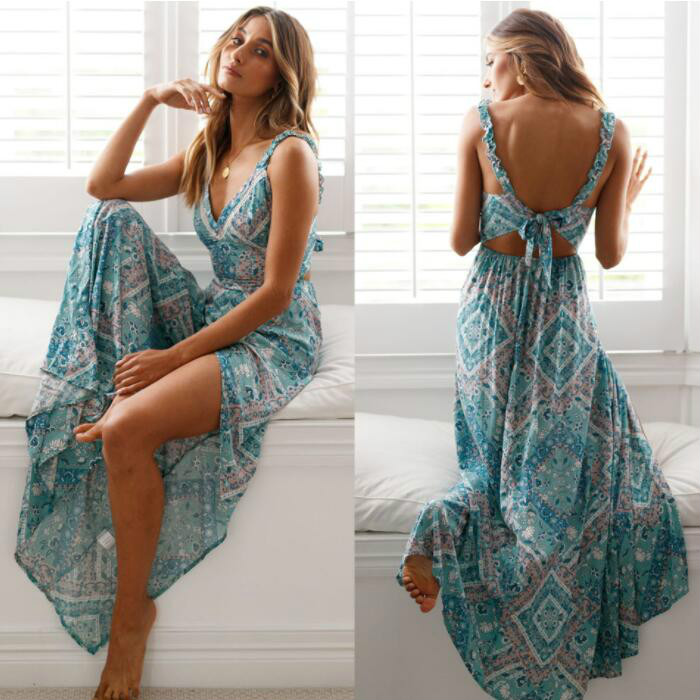 Women Sexy Backless Dress 2019 Summer Bohemian Floral Print Long Dresses Femal V Neck Vestidos Plus Size Lady Casual Clothes(China)