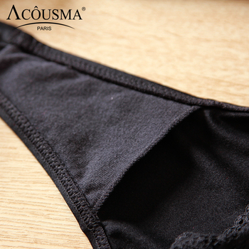 ACOUSMA Women G-String Hollow Out Lace Sexy T Back Thongs Panty Underwear Seamless Breathable Farbic Low Waist 8 Colors Optional 5