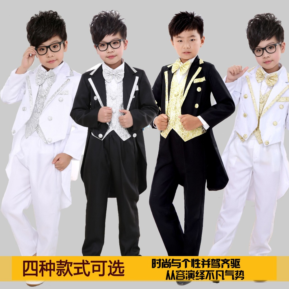 Kids Tuxedo Suits Champagne White Child Tuxedo Piano Performance Wear 7pieces Set Blazer+pant+shirt+bow+girdle+tie+belt Boy Suit