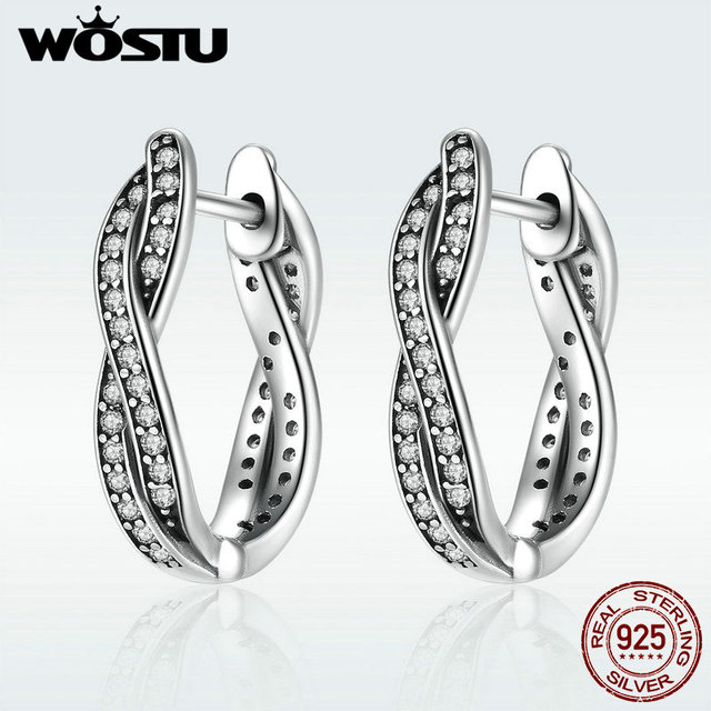 e10577358 WOSTU 100% Real 925 Sterling Silver Twist Of Fate Hoop Earrings With Clear  CZ For Women Lady Authentic Original Jewelry Gift