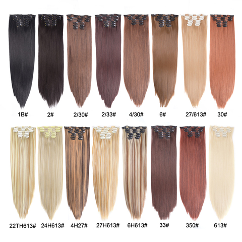 Leeons 16 colors 16 clips Long Straight Synthetic Hair Extensions Clips in High Temperature Fiber Black Brown Hairpiece Lahore