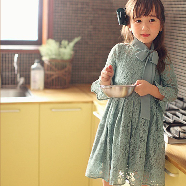 dress girls 2017 spring autnum girls dress bow baby dress cotton girls clothes flounced girls lace dress for 2-6age clothing lace red girls dress rose tutu dress for wedding clothes with bow knot infant girls clothes white light pink baby clothing 2017
