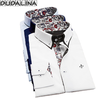 DUDALINA Men Casual Long Sleeved Printed Shirt Slim Fit Male Social Business Dress Shirt Brand Men