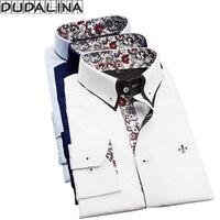 Homens Casuais de Manga Comprida Imprimiram a camisa DUDALINA Slim Fit Negócios Vestido de Camisa Social Masculina Marca de Roupa Dos Homens Macio E Confortável