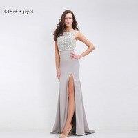 Chanh joyce shop Sliver Dài Dresses Evening Gown Pha Lê Beading Backless Tầng Length Formal Maxi Dress vestidos de noiva Cộng Với Kích Thước