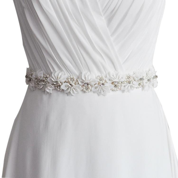 Handmade Wedding Dress Sash Belt Crystal Pearl Bridal Sash Applique
