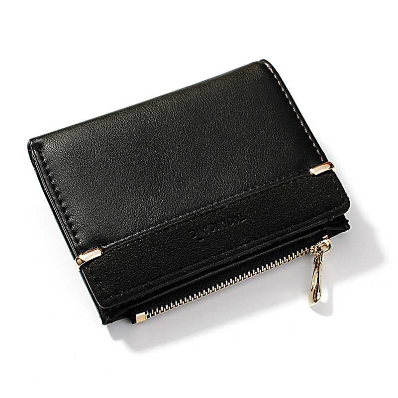 Женский кошелек, короткий женский кошелек для монет, модные кошельки для женщин, держатель для карт, маленький женский кошелек, Женский мини-клатч на застежке для девушек - Цвет: Черный
