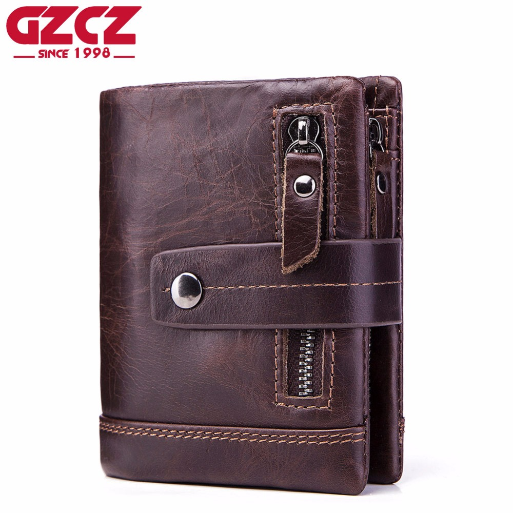 746fc2079529 GZCZ Genuine Leather Wallet Men PORTFOLIO MAN Male Small Portomonee Vallet  With Coin Purse Pockets Slim