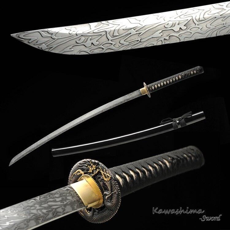 Katana japonaise faite à la main 440 en acier inoxydable motif fantaisie Nihonto samouraï épée pleine netteté-Dragon Tsuba