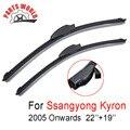 Par Brisas Frente Wiper Blades Para Ssangyong Kyron 2005 Em Diante, Fit Windshield Limpadores De Borracha Natural, Acessórios Do Carro
