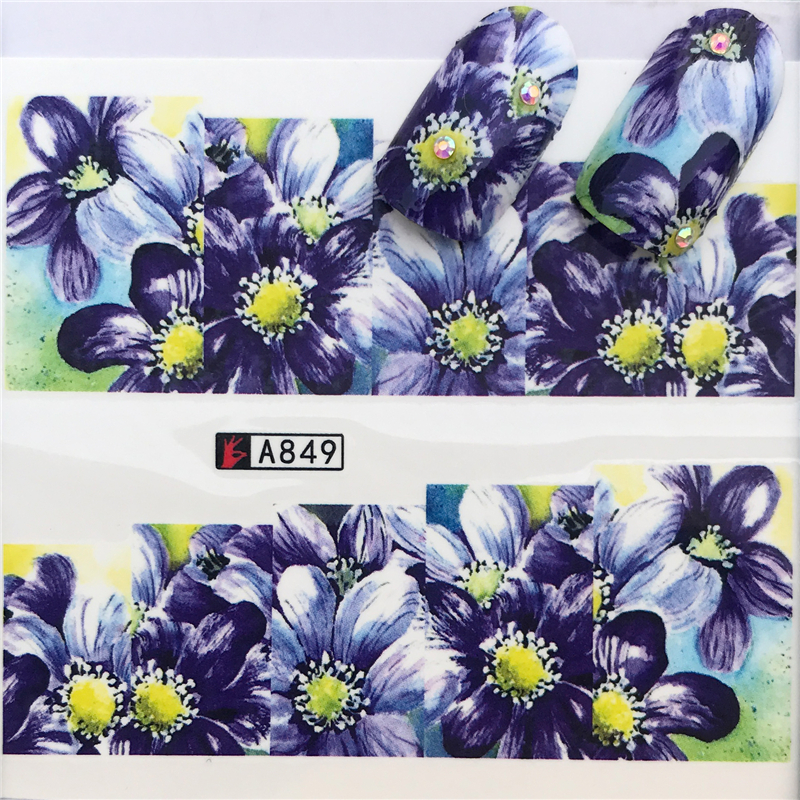 1 Sheets NewPurple Lily Flower Mix Colors Charm Nail Art Water Transfer Sticker For Nails Tips Decorations Manicure Tools