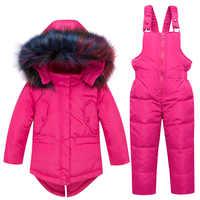 2018 ฤดูหนาวเด็กอบอุ่นชุดใหม่เด็กลงเสื้อแจ็คเก็ตขนสัตว์ Snowsuits น่ารักสาวแจ็คเก็ต Outerwear Coat + suspender jumpsuit
