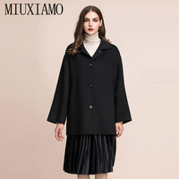 MIUXIMAO TOP QUALITY 2019 fall Winter Coat Jacket 100% Pure Wool Single Breasted Over Coat Women Coat vestidos with Pocket