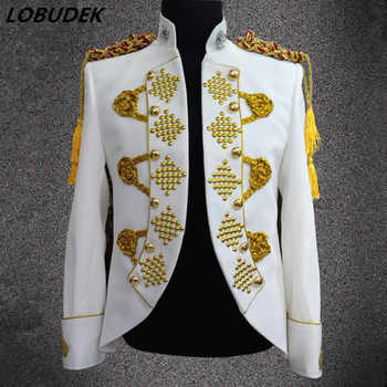 Men Gold Embroidery Crystal Jacket White Red Black Court Blazers Fashion Prom Singer Host Stage Clothing Festival Wedding Coat - DISCOUNT ITEM  36% OFF All Category