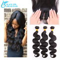 7A Virgin Peruvian Human Hair Silk Base Closure With Bundles3Pcs, Body Wave Unprocessed Human Hair Extensions With Closure