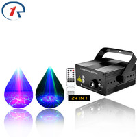 ZjRight LED lights 24 patterns IR Remote RG Mix blue laser stage light Music control home gala party Xmas ktv bar disco lighting