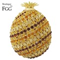 Sparkling Bling Multi Diamond Pineapple Shape Women Evening Wedding Prom Crystal Bags Hollow Out Metal Clutches Handbags Purse