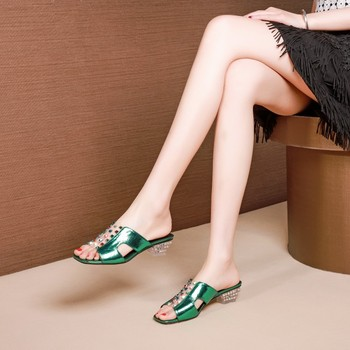 MLJUESE 2019 women slippers Cow leather summer open toe rivets green color square heel beaches sandals party dress size 34-42
