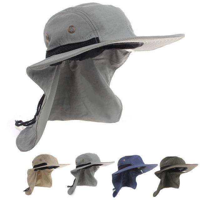 Casual Neck Flap Boonie Hat Fishing Hiking Safari Outdoor 4 Colors Sun Brim  Bucket Bush Cap 7a3e81087b12