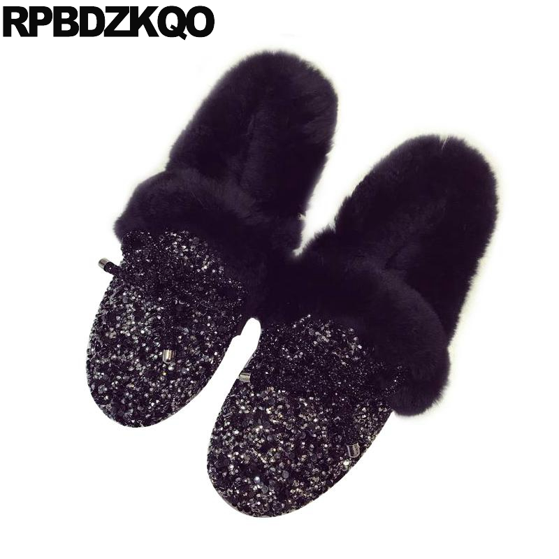 Ladies Beautiful Flats Shoes Black Female Large Size Casual Fur Glitter Women Slip On Comfy 10 Winter Bling Drop Shipping Latest comfy fitness ladies beautiful flats shoes spring autumn women size 34 korean china black slip on sneakers casual footwear