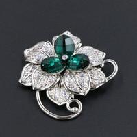 Gorgeous Green Oostenrijkse Kristal Bloem Bladeren Broches voor Vrouwen Hoeden Sjaal Gespen Strass Sieraden Party Pin Clips