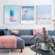HAOCHU Nordic Canvas Art Print Painting Modern Seascape Landscape Blue And Pink Personality Home Decoration Wall Picture Poster