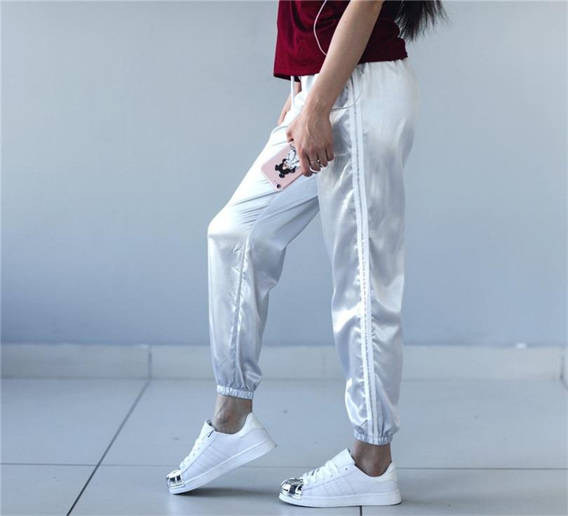 Hip Femenino rosado hop caqui Mediados Suelto Nylon Necking Promoción Nuevo 2017 azul plata Lulu Color Negro Pantalones Cielo Casuales rojo Cordón Ninguno Acetato Plana Leggings qTZaBZ