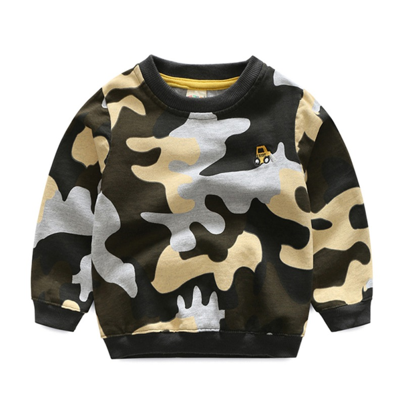 Camouflage Baby Boys Shirt Hoodies Tops Cotton Long Sleeve Autumn Spring Girls Clothes Outfit 3 Colors 3-8 Y