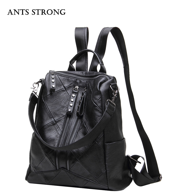 ANTS STRONG New dual use ladies backpack travel bag multi functional black casual shoulder bag