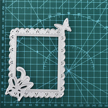Naifumodo Lace Rectangle Frame Metal Cutting Dies Butterfly Edge DIY Etched Craft Paper Card Making Scrapbooking Embossing