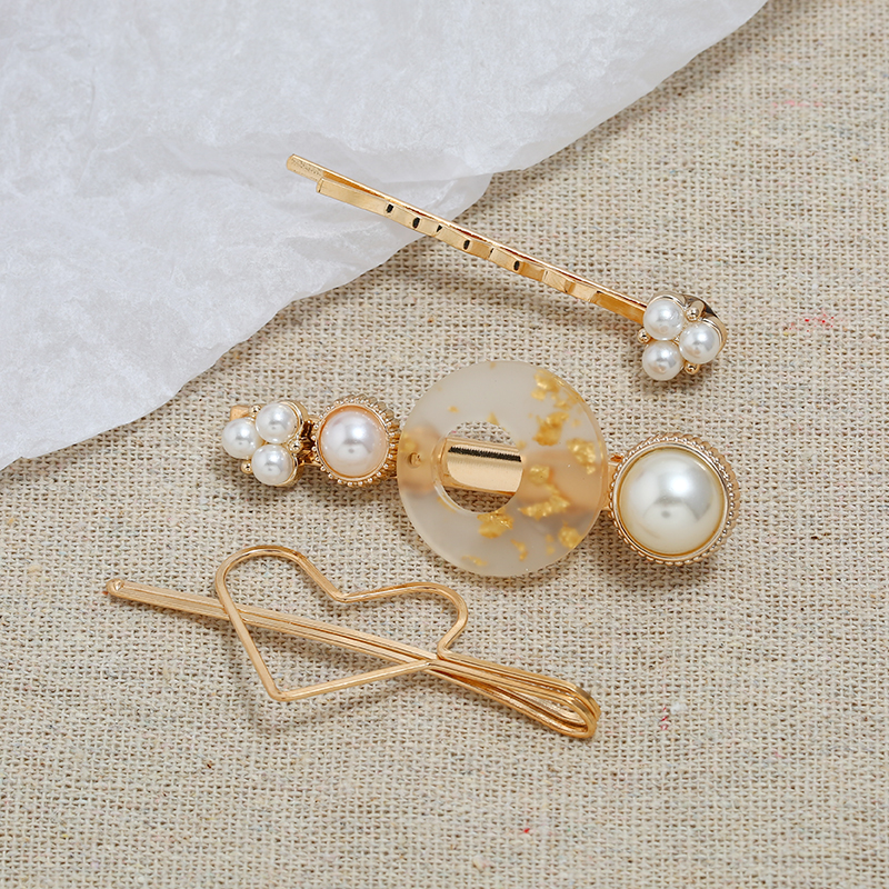 Bohopan 3PCS Set Fashion Pearl Hair Clip Set Round Hollow Hair Pins For Women Elegant Party Heart Hair Accessories Jewelry Trend in Women 39 s Hair Accessories from Apparel Accessories