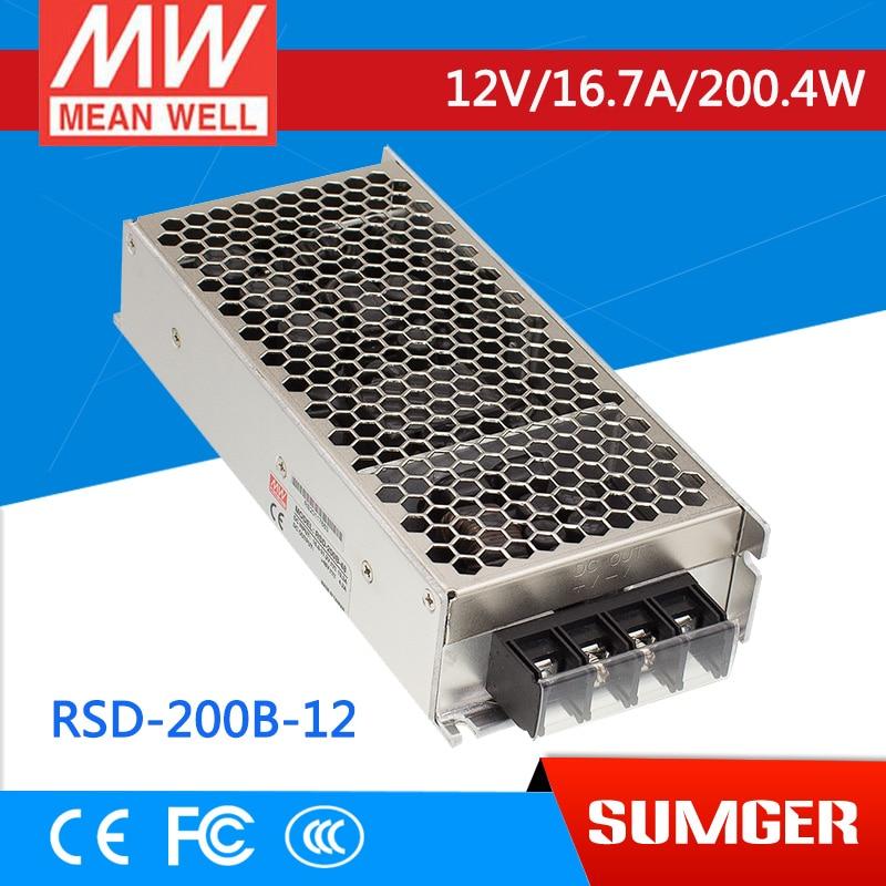 1MEAN WELL original RSD-200B-12 12V 8.4A meanwell RSD-200 12V 201.6W Railway Single Output DC-DC Converter ce rohs 7 5v ac dc 350w single output switching power supply high freqyency
