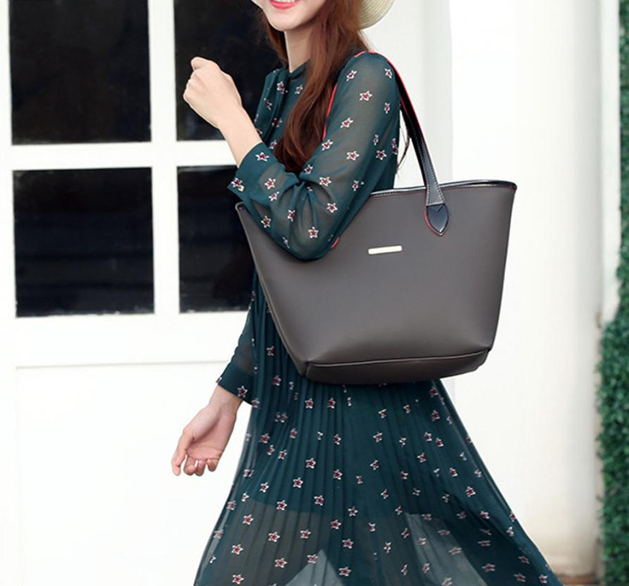 Модные женские Искусственная кожа хит цвет сумки Сумка Дамы сплошной цвет молнии Повседневная сумка пляжная сумка # f