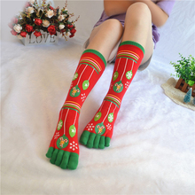 974c33dfe6 3D Printed Five Fingers Socks Christmas Toe Socks Women Men Cartoon Santa  Warm Mid-calf