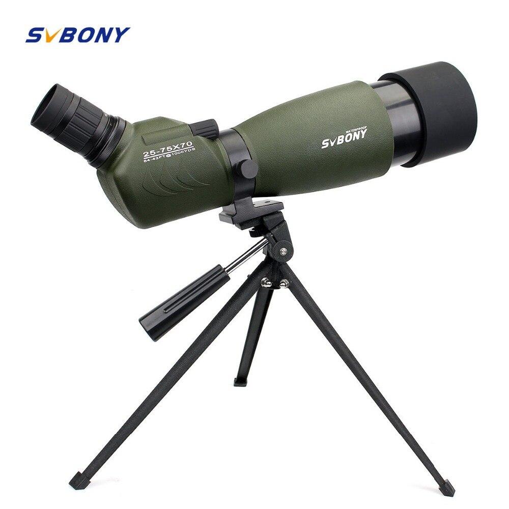 SVBONY Зрительная труба 20-60x60/25-75x70mm телескопа BAK4 Водонепроницаемый 45 градусов угловой Birdwatch w/штатив F9310