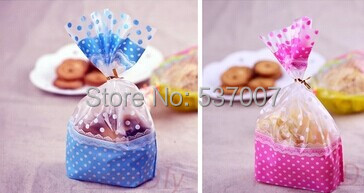 100pcs 16x24cm OPP Sweet Polka Dot Top Open Cookie Bags Stand Up Macaron Packaging Plastic Bread Bags for Baking Wedding Candy