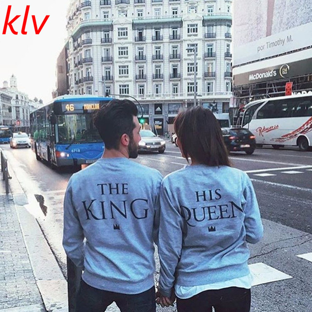 King & Queen Letter Print Couple Tops Blouse Pullover Swea ter