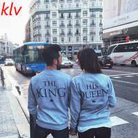 Król i królowa list drukuj para topów bluzka sweter sweter ter