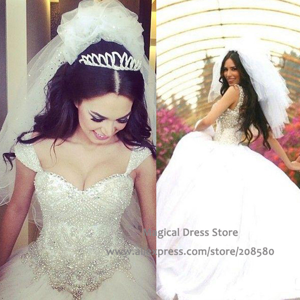 White Wedding Dresses With Rhinestone And Bling