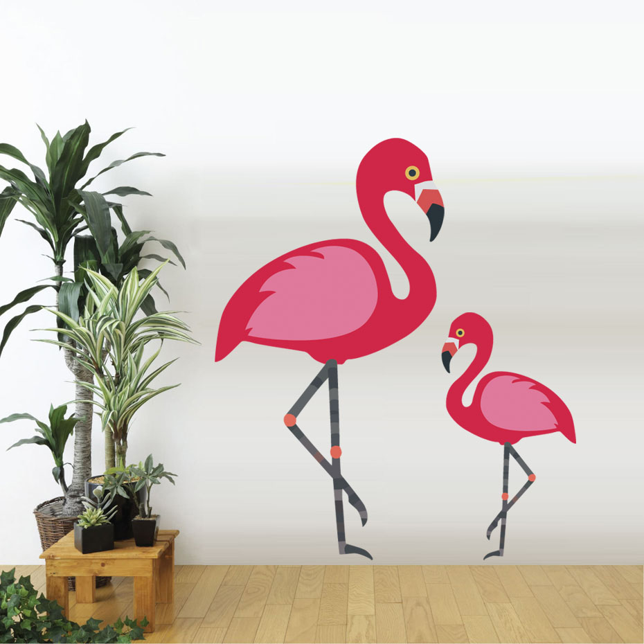 Lovely Flamingo Wall Sticker DIY Removable Art Vinyl Decal Cartoon Animals Adhesive Wallpaper For Living Room Vintage Home Decor