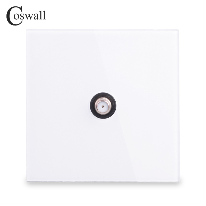 Coswall 2018 New Arrival Crystal Tempered Glass Panel Wall Satellite Socket White Color AC 110~250V