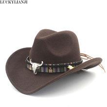 b67b959a95946 LUCKYLIANJI Child Kid Boy Girl Wool Felt 100% Western Cowboy Hat Wide Brim  Cowgirl Cow