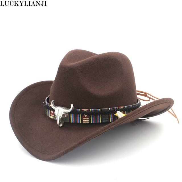 50541cef742 LUCKYLIANJI Child Kid Boy Girl Wool Felt 100% Western Cowboy Hat Wide Brim  Cowgirl Cow Head Leather Band (One Size 54cm)