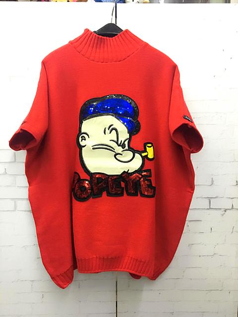 Liquidación --- o-cuello bordado anchoas brazalete camisa suéter básico