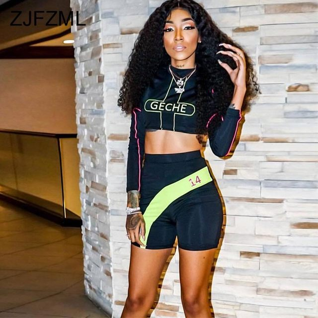 Fitness Sporting Two Piece Set Letter Striped Long Sleeve Crop Top+Bandage Biker Short  Suit Streetwear 2 Piece Tracksuit Outfit