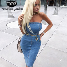 Newasia ストラップレスデニム女性のエレガントな夏ドレスセクシーなパーティージーンズドレスボディコンドレスカジュアルクラブ vestido を着用ジーンズ